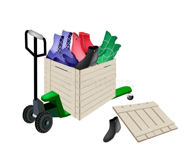 Barłóg ciężarówki kobiet Ładowniczy buty w wysyłki pudełku ilustracji