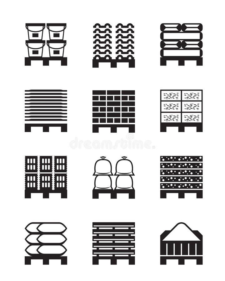 Barłogi z różnymi materiałami budowlanymi royalty ilustracja