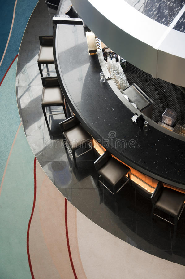 Bar. Circle or round Bar, view from above with the chairs stock photography
