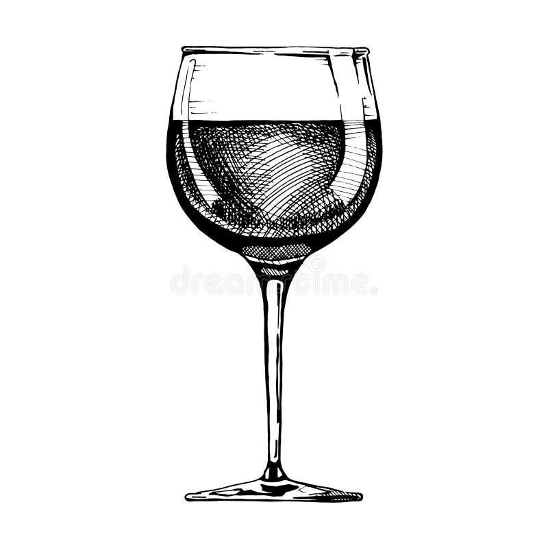 bar alkoholu szklany czerwone wino royalty ilustracja