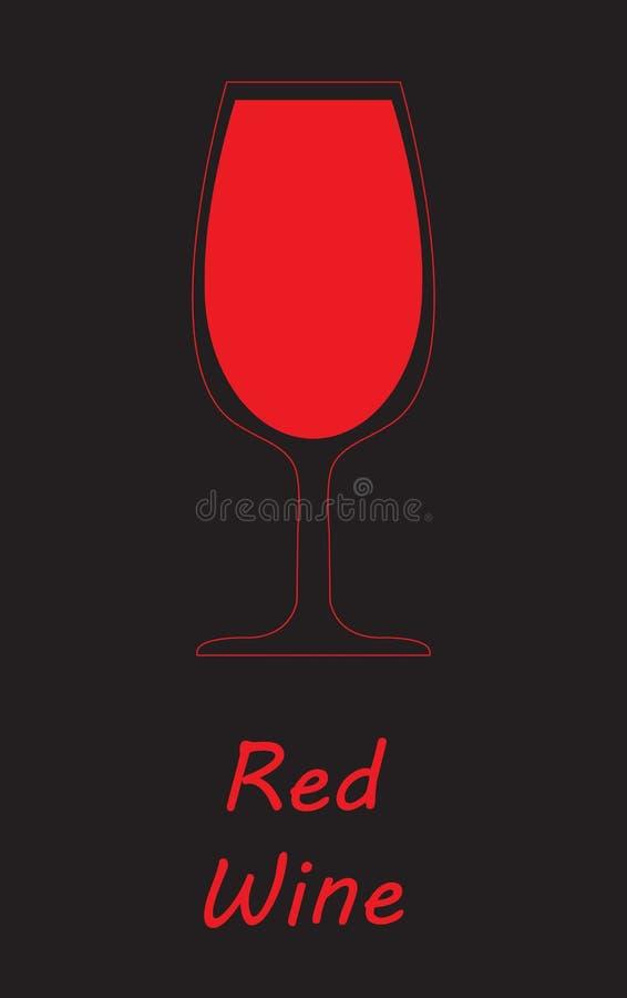 bar alkoholu szklany czerwone wino Czarny tło royalty ilustracja