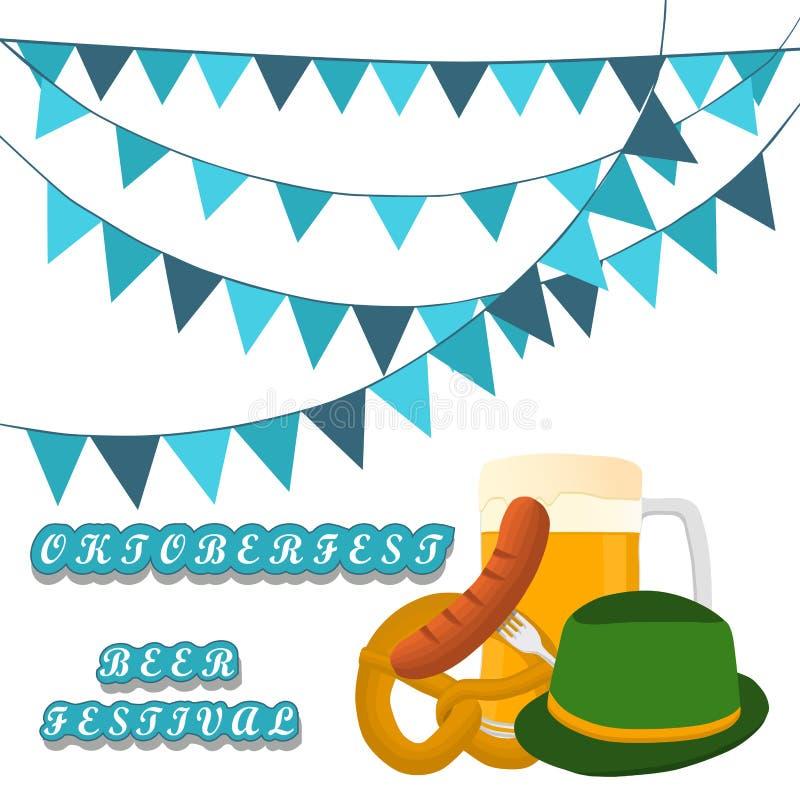 Bar banner Oktoberfest. Vector illustration logo for bar banner oktoberfest,pub during the festival,beer mug with foam filled to the brim,vintage pubs stock illustration