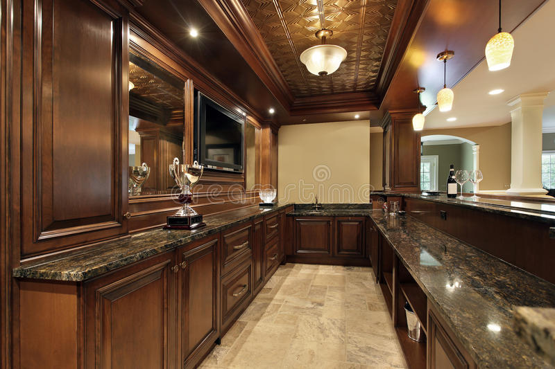 Bar In Basement Of Luxury Home Stock Image Image Of