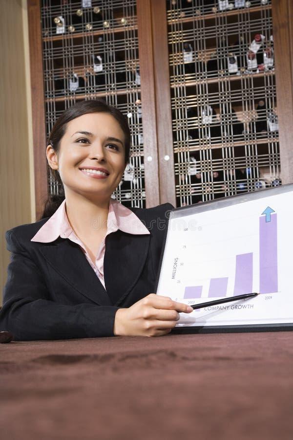 bar bizneswomanu wykres obraz royalty free