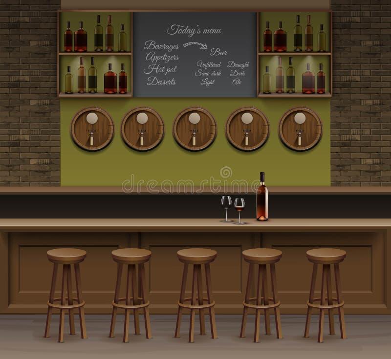 Bar-Café-Bier-Cafeteria-Zähler-Schreibtisch-Innenraum-Vektor vektor abbildung