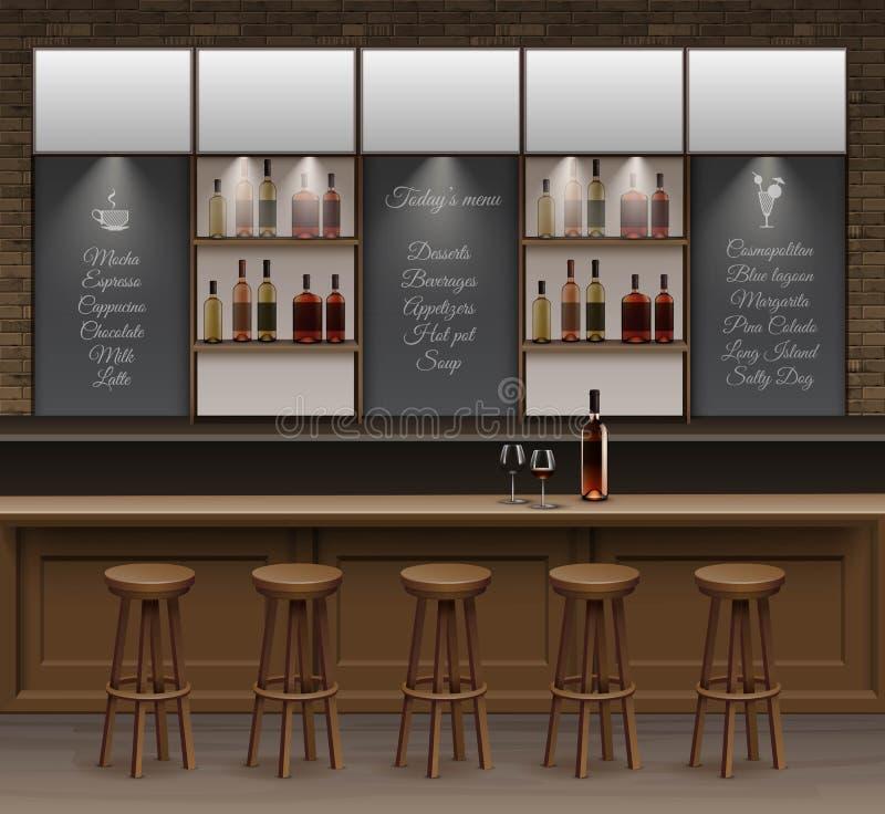 Bar cafe beer cafeteria counter desk interior vector stock - Interior barra bar ...