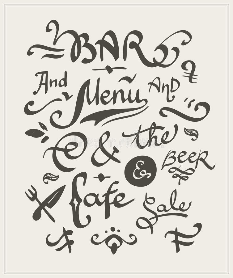 Bar and cafe menu stock illustration