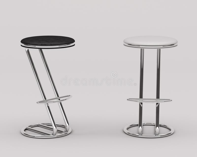 Bar chair black-white leather royalty free stock photography