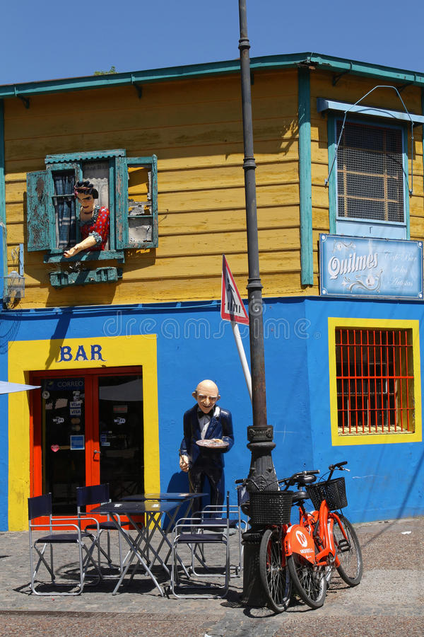 Bar and Characters in La Boca. BUENOS AIRES, ARGENTINA, January 5, 2014 : Characters in the streets of La Boca. This district is a popular destination, with its stock image