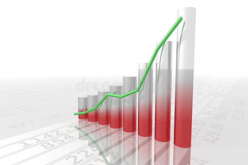 Bar chart 2. Hi-res rendering of a bar chart, several random numbers on the floor stock illustration