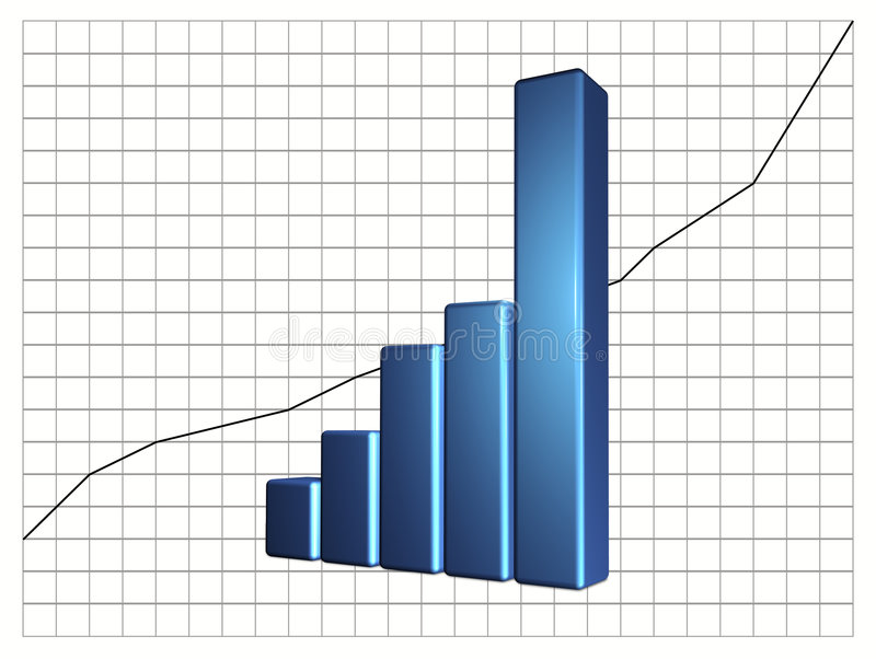 Bar Chart. 3D bar graphic for use as business chart showing increase in financial activity stock illustration