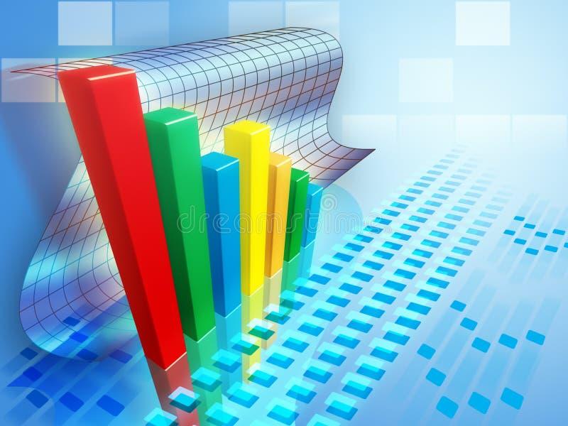 Bar chart. Indicating a positive trend. Digital illustration stock illustration