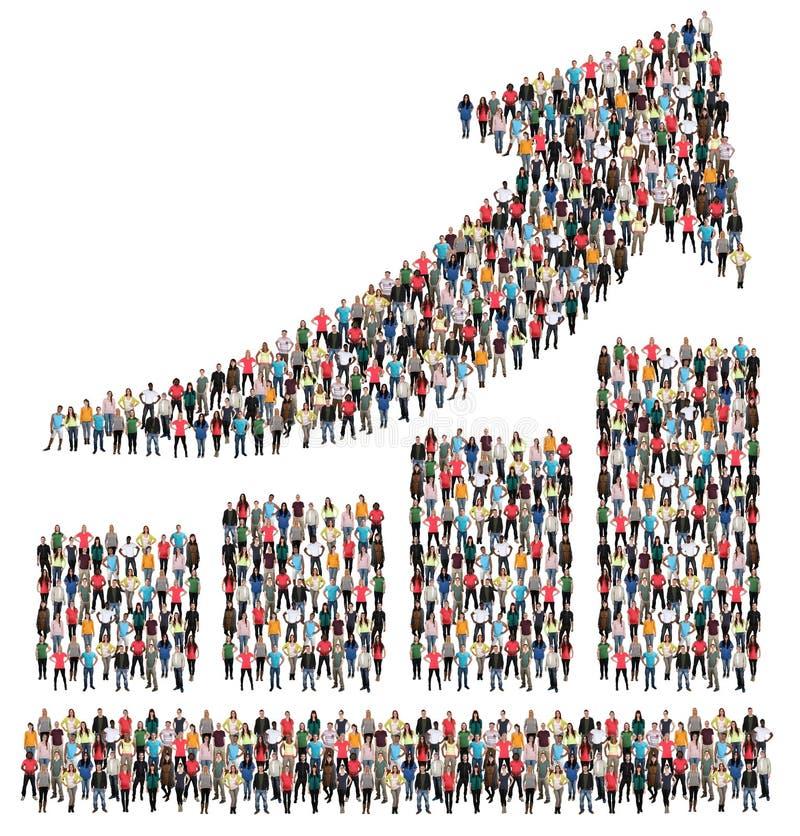 Bar chart arrow sales group of people success business profit gr stock image