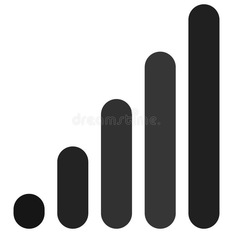 Bar chart / bar graph symbol. Rounded rectangle chart stock illustration
