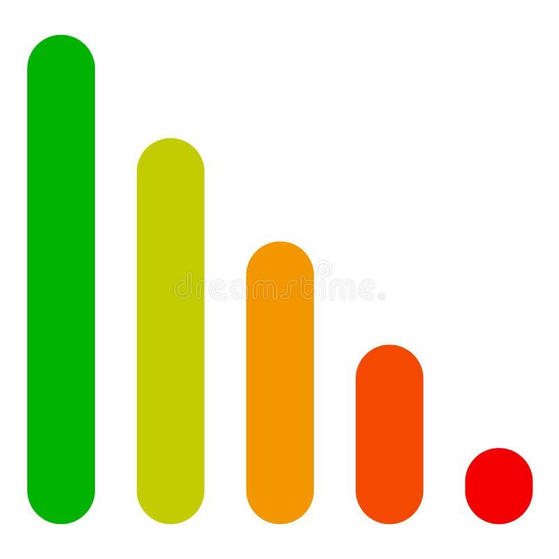 Bar chart / bar graph symbol. Rounded rectangle chart royalty free illustration