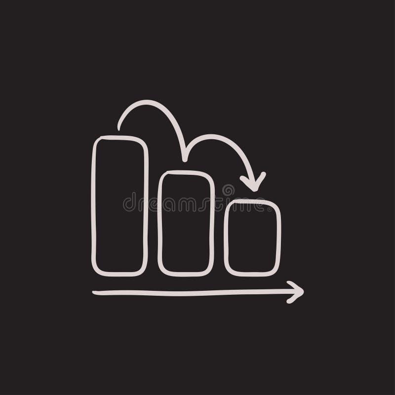Bar chart down sketch icon. vector illustration