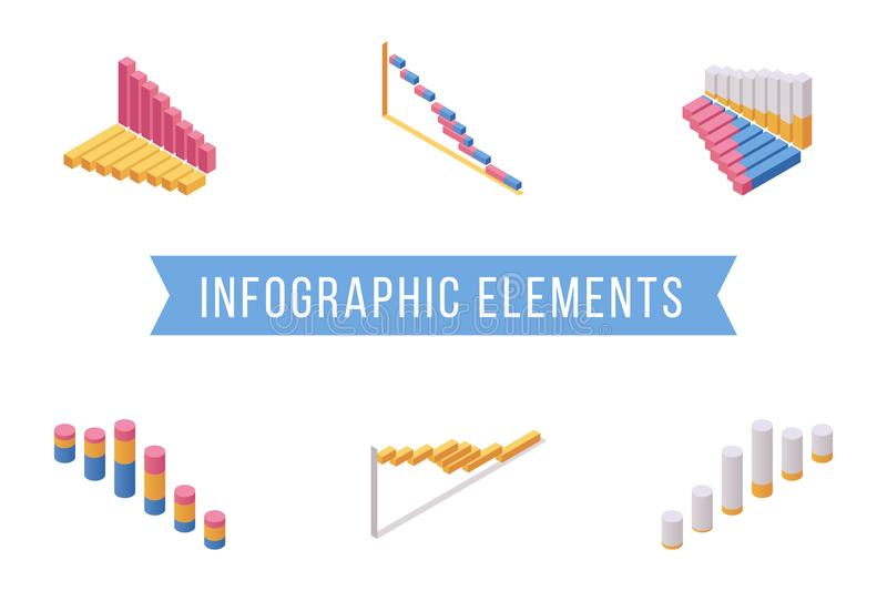 Bar chart elements isometric illustrations set. Various multi level histogram graphs, economic diagram 3D vector icons. Pack. Business analysis, statistical vector illustration