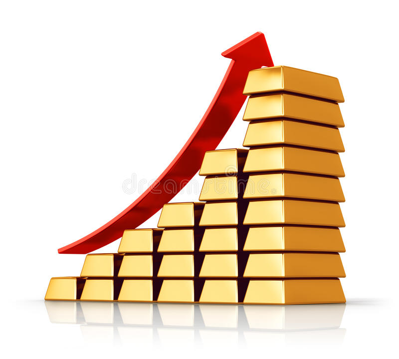 Bar chart from gold ingots. Creative abstract business success, accounting and investment, financial growth and banking development concept: bar chart from gold stock illustration