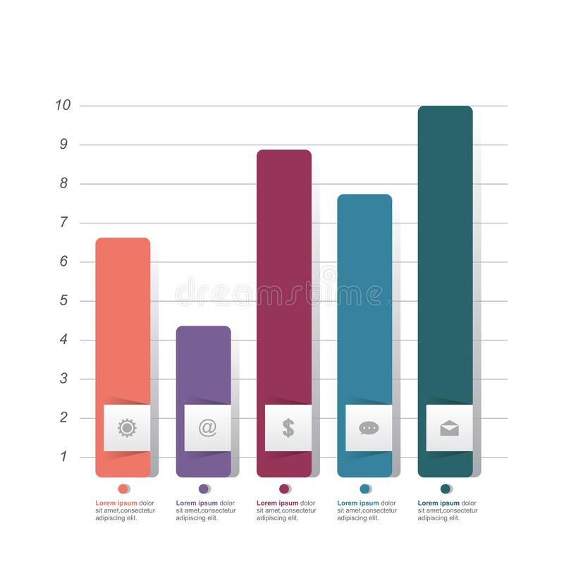 Bar Chart Graph Diagram Statistical Business Infographic Illustration.  royalty free illustration