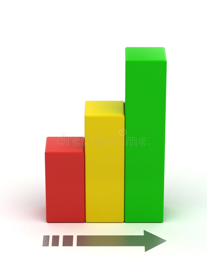 Bar chart growth. Abstract bar chart growth on white background royalty free illustration