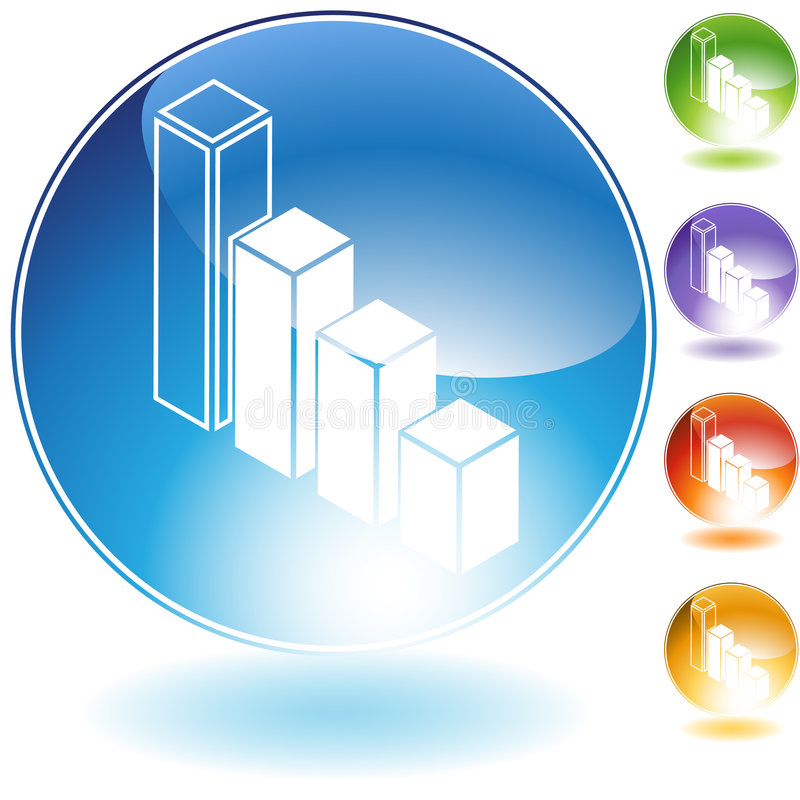 Download Bar Chart Icon stock vector. Image of blue, shiny, orange - 9274971