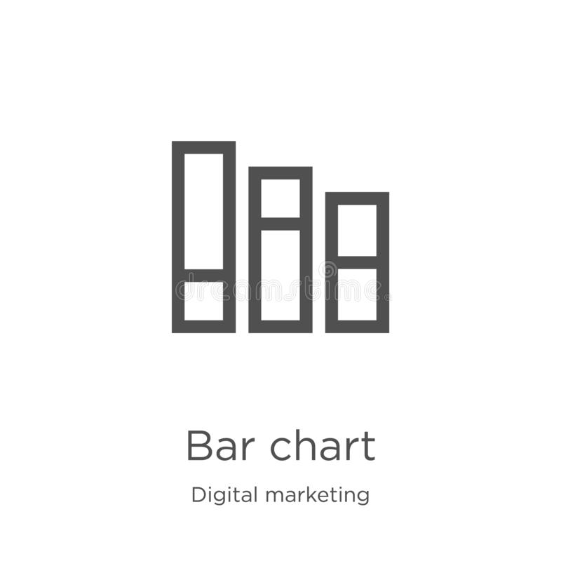 bar chart icon vector from digital marketing collection. Thin line bar chart outline icon vector illustration. Outline, thin line stock illustration
