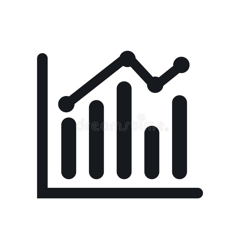 Bar chart icon vector sign and symbol isolated on white background, Bar chart logo concept. Bar chart icon vector isolated on white background for your web and vector illustration