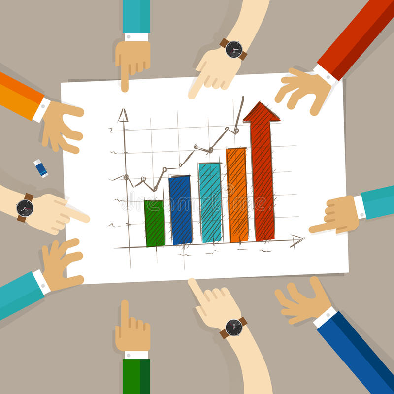 Bar chart increase team work on paper looking to hand drawing business concept of planning hands pointing collaboration. Group in office vector royalty free illustration