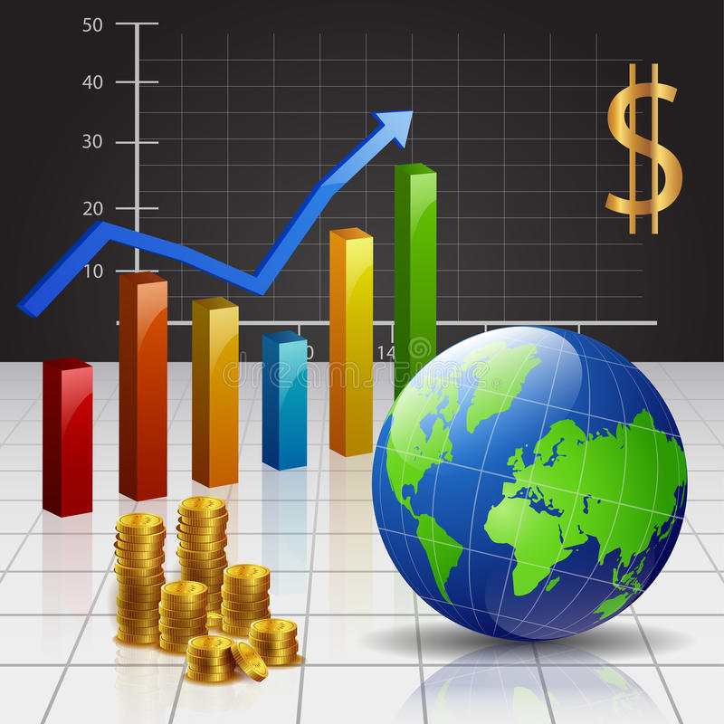 Bar chart infographic template with globe and coin stock illustration
