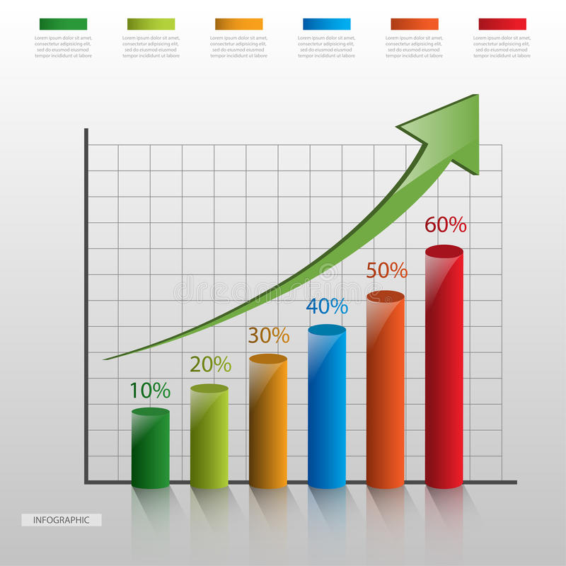 Bar chart infographic template royalty free illustration
