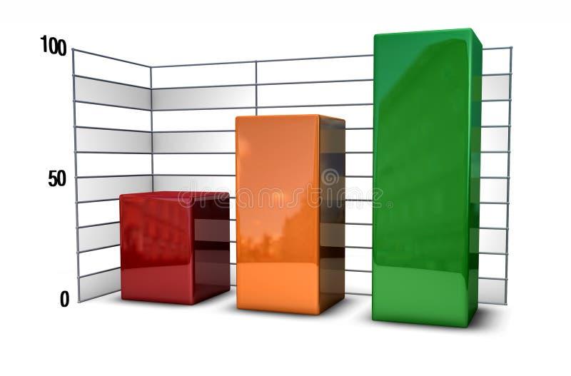 Bar Chart metallic. A bar chart in metallic style over white vector illustration