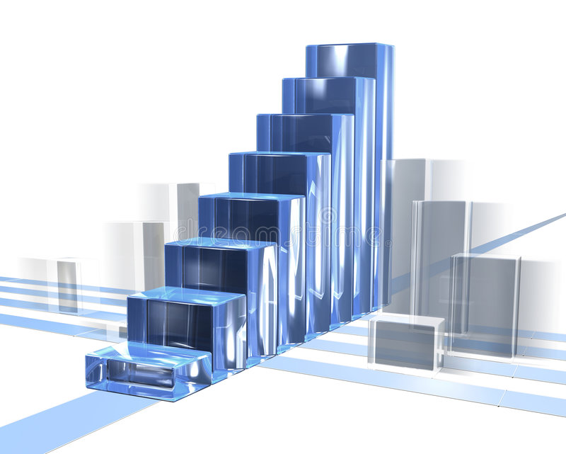 Bar Chart In Motion. Business diagram glas bars in motion building a stair and showing success stock illustration