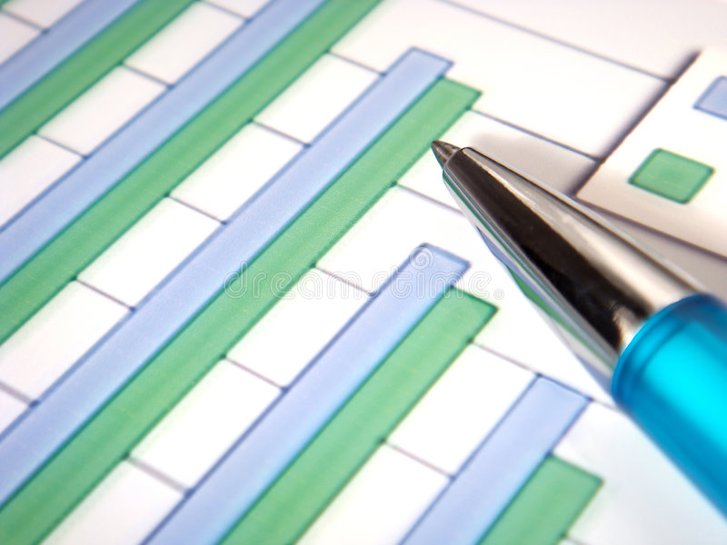 Bar chart with pen royalty free stock photos