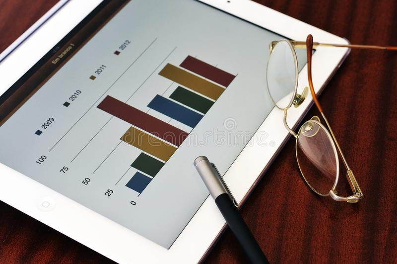 Download Bar chart in tablet stock image. Image of chart, investment - 24467359