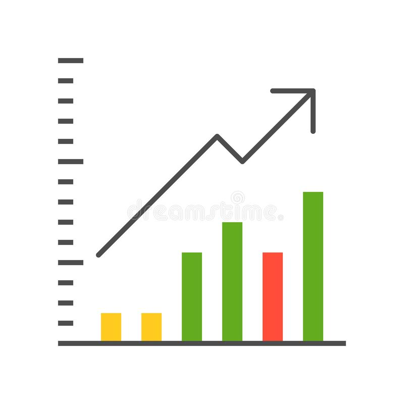 Bar chart vector, data report icon concept.  royalty free illustration