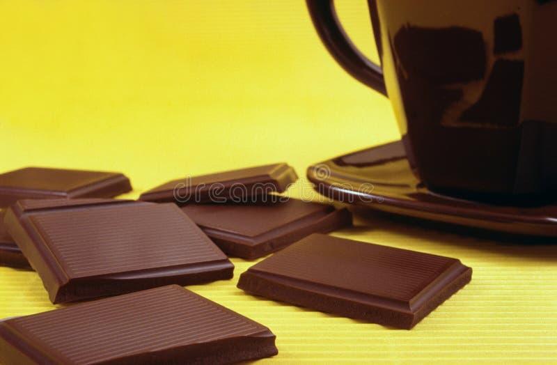 Bar of chocolate and hot chocolate stock photos