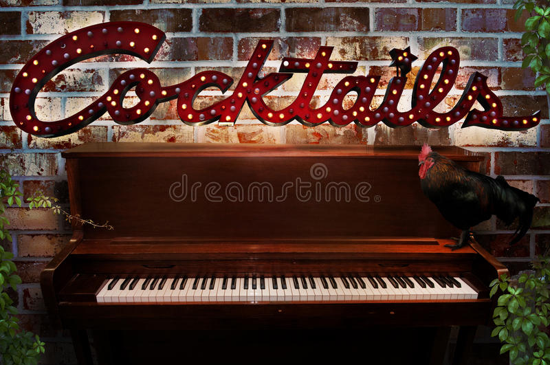 Piano Bar Cocktail Sign Stock Images