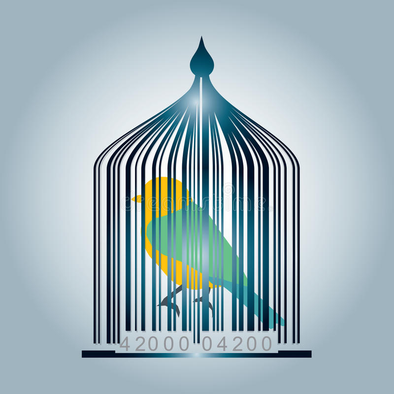Download Bar code cage stock vector. Image of bird, concept, money - 25631228