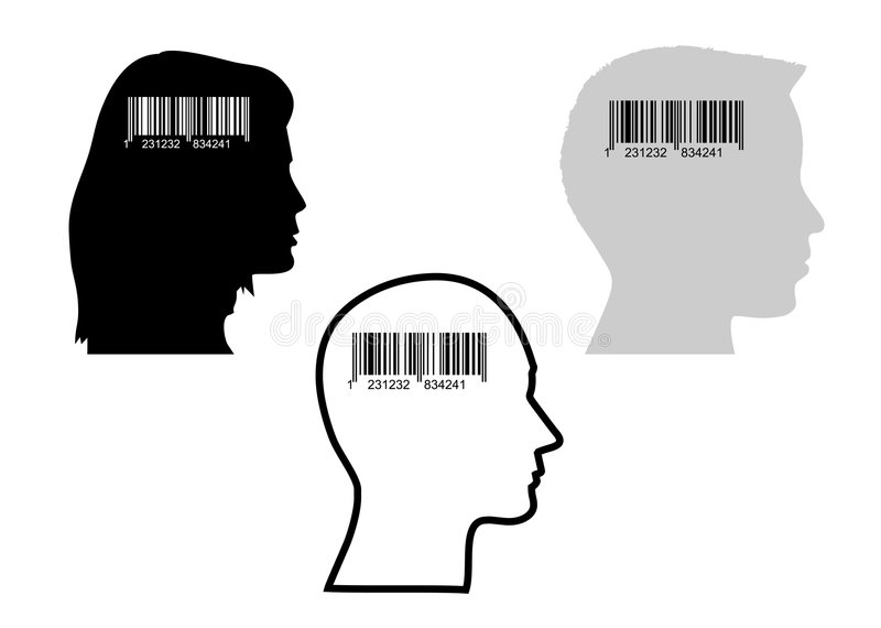 Bar-code and head. Illustration of bar-code and heads, concept of consumerism stock illustration