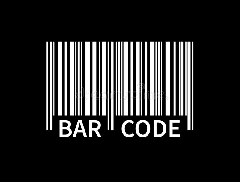 Bar code isolated on black background. White tracking barcode with text. Label information. Product mark. Vector. Illustration vector illustration