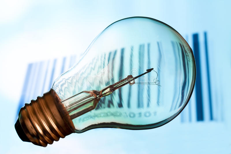 Download Bar code with  lightbulb stock photo. Image of close - 13525834