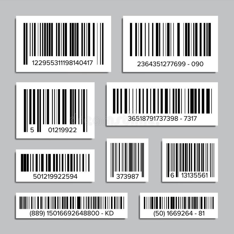 Bar Code Set Vector. Abstract Product Bar Codes Icons For Scanning. UPC Label. Isolated Illustration vector illustration