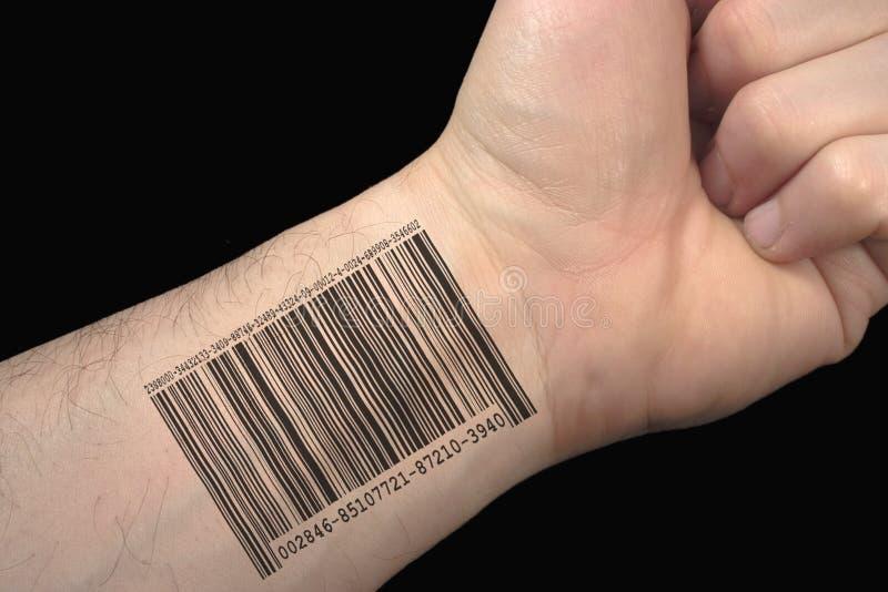 Bar code tattoo. stock images