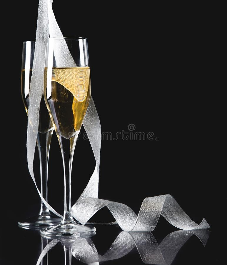 Download Flute Glasses Of Champagne On  Background Stock Image - Image of celebration, drinks: 111555159
