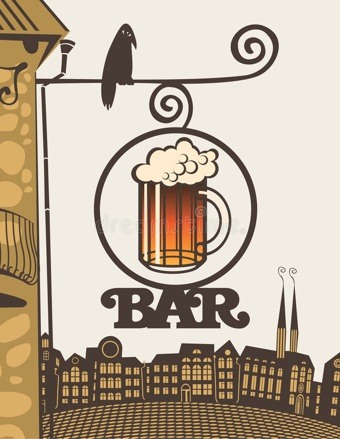 Download Bar On The Corner Of The House Stock Vector - Image: 27818699