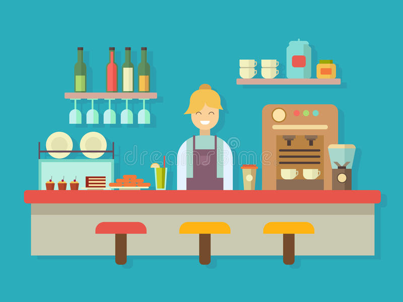Bar counter. Cocktail alcohol, coffee machine and cake, dessert food, flat vector illustration royalty free illustration