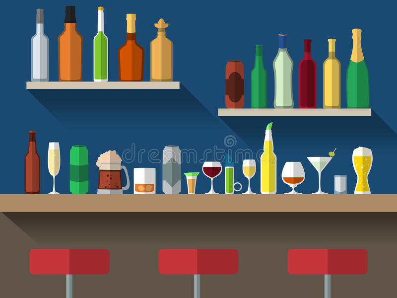 Bar counter flat. Bar counter with stools and alcohol drink on shelves flat vector illustration stock illustration