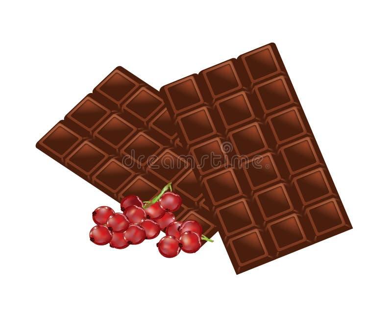 Bar czekolady z czerwonymi rodzynkami royalty ilustracja