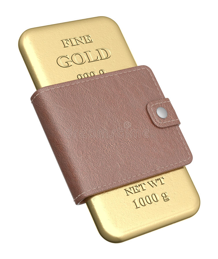 Bar d'or dans la pochette illustration stock