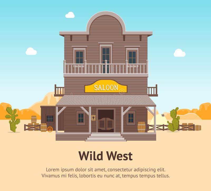 Bar da construção dos desenhos animados em um cartaz do cartão do fundo da paisagem Vetor ilustração stock